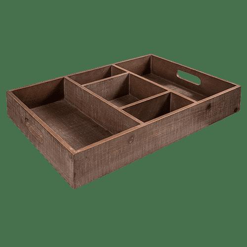 Wooden BBq cutlery tray